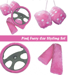 car accessories for girls furry pink dice and wheel